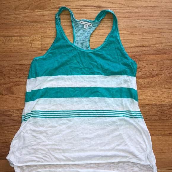 American Eagle Outfitters Tops - Aqua green and white striped tank top